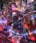 1girl android arm_at_side armor armored_dress aura bangs black_hair breasts corset dress fire floating_hair frilled_dress frills gauntlets gears gem glowing greaves green_eyes grey_eyes hand_on_own_chest headgear high_heels highres irua light_particles long_hair looking_at_viewer mechanical_arms mechanical_legs medium_breasts mono_garnet_rebel multicolored multicolored_eyes night official_art open_mouth red_eyes robot_joints ruby_(gemstone) ruins shadowverse sitting slit_pupils solo v-shaped_eyebrows very_long_hair watermark
