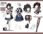 1girl ac130 ahoge alternate_costume apron armband bag bangs black_hair chibi commentary_request crutch dress eyebrows_visible_through_hair girls_frontline gloves gsh-18_(girls_frontline) hair_ornament hat highres long_hair nurse nurse_cap open_mouth red_eyes short_sleeves side_ponytail sidelocks white_apron white_background white_gloves white_legwear