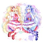 2girls absurdly_long_hair aisaki_emiru bangs blonde_hair boots bow bowtie cure_amour cure_macherie detached_sleeves dress eyebrows_visible_through_hair floating_hair gloves hair_bow highres hugtto!_precure layered_dress lazy_orange long_hair long_sleeves looking_at_viewer multiple_girls pink_footwear precure purple_footwear purple_legwear red_bow red_neckwear ruru_amour short_dress silver_hair thigh-highs twintails very_long_hair violet_eyes white_background white_gloves white_legwear white_sleeves