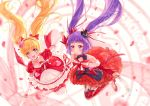 2girls :d asahina_mirai black_headwear blonde_hair bow choker closed_mouth cure_magical cure_miracle dress frills full_body gloves hair_bow hairband hand_holding hat holding holding_wand izayoi_liko long_hair looking_at_viewer magical_girl mahou_girls_precure! mini_hat mini_witch_hat multiple_girls open_mouth petals pf pink_headwear precure purple_hair red_bow red_dress red_footwear red_hairband red_legwear ruby_style shoes smile striped striped_bow thigh-highs twintails violet_eyes wand white_gloves white_legwear witch_hat