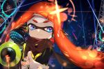 1girl amatcha bangs black_cape black_shirt blue_eyes blunt_bangs blurry blurry_background cape closed_mouth commentary diffraction_spikes domino_mask foreshortening headgear hero_shot_(splatoon) highres holding inkling lens_flare long_hair long_sleeves looking_at_viewer mask nail_polish night night_sky orange_hair orange_nails reaching_out reflective_eyes shirt sky smile solo splatoon splatoon_(series) splatoon_2 splatoon_2:_octo_expansion squidbeak_splatoon star_(sky) starry_sky tentacle_hair vest yellow_vest