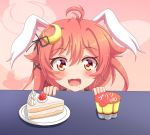 1girl ahoge animal_ears bangs black_ribbon blush cake commentary_request crescent crescent_hair_ornament drooling eyebrows_visible_through_hair fang food fruit hair_between_eyes hair_ornament hair_ribbon kantai_collection long_hair open_mouth plate pudding rabbit_ears red_eyes redhead ribbon shiruzu_(sk10102194) slice_of_cake solo strawberry table uzuki_(kantai_collection)