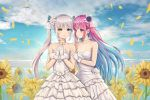 2girls :d ahoge bare_arms bare_shoulders blue_eyes blue_hair blue_sky breasts choker cleavage clouds cloudy_sky collarbone day dress flower gloves hair_flower hair_ornament halterneck hands_up heterochromia hokori_sakuni hololive interlocked_fingers kagura_mea kagura_mea_channel layered_dress long_hair looking_at_another looking_at_viewer medium_breasts minato_aqua multicolored_hair multiple_girls open_mouth outdoors own_hands_together parted_lips petals purple_flower purple_hair rose side-by-side silver_hair sky smile standing streaked_hair sunflower twintails two-tone_hair very_long_hair violet_eyes virtual_youtuber wedding_dress white_choker white_dress white_gloves yellow_eyes yellow_flower