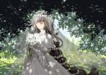 1girl bangs blue_sky blunt_bangs bouquet bracelet brown_hair closed_eyes dappled_sunlight day dress elbow_gloves facing_viewer flower gloves head_wreath holding holding_bouquet jewelry lily_(flower) long_hair long_neck necklace noah_fantasy official_art outdoors seeker sky solo standing sunlight tree veil very_long_hair wedding_dress white_gloves