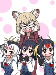 4girls animal_ears black_hair blonde_hair blush_stickers brown_eyes closed_eyes cosplay drooling eating fang food gentoo_penguin_(kemono_friends) glasses hands_on_own_face hoshino_miyako_(wataten) hoshino_miyako_(wataten)_(cosplay) jacket japari_bun kemono_friends margay_(kemono_friends) multicolored_hair multiple_girls parody pink_hair redhead rockhopper_penguin_(kemono_friends) round_eyewear royal_penguin_(kemono_friends) sasaki_(crazy_planet) school_uniform thumbs_up track_jacket track_suit watashi_ni_tenshi_ga_maiorita! white_hair