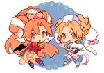 2girls blonde_hair blush brown_eyes chibi commentary_request dress earrings elena_(grandia) grandia grandia_ii hamagurihime head_scarf jewelry long_hair looking_at_viewer millenia_(grandia) multiple_girls redhead smile weapon