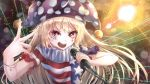 +_+ 1girl absurdres american_flag_shirt arm_up blonde_hair blurry bokeh bracelet clownpiece commentary_request dai_(yamii) depth_of_field facial_tattoo fingernails hand_gesture hat highres holding holding_microphone jester_cap jewelry laser long_hair looking_at_viewer microphone neck_ruff open_mouth polka_dot_hat red_eyes shiny shiny_hair short_sleeves solo stage_lights standing tattoo touhou upper_body upper_teeth very_long_hair