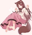 1girl alternate_color alternate_eye_color animal_ear_fluff animal_ears arms_up barefoot breasts brooch brown_hair cherry_blossoms claw_pose commentary commentary_request eyebrows_visible_through_hair fang flower frilled_sleeves frills hair_flower hair_ornament head_tilt highres imaizumi_kagerou jewelry long_hair long_skirt long_sleeves looking_at_viewer medium_breasts open_mouth pink_background pink_eyes pink_skirt shawl shirt simple_background sitting skirt solo tail thick_eyebrows touhou untucked_shirt utakata_(azaka00) very_long_hair white_shirt wolf_ears wolf_tail