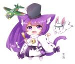 1girl :d aircraft airplane animal animal_ear_fluff animal_ears azur_lane bangs bell bishamaru_(azur_lane) black_headwear blush_stickers bow cat_ears cat_girl cat_tail chibi closed_fan commentary_request eyebrows_visible_through_hair fan folding_fan full_body hair_bow hakama_pants hat holding holding_fan japanese_clothes jingle_bell kanda_(kvzs4332) long_hair long_sleeves meowficer_(azur_lane) open_mouth pants puffy_pants purple_hair purple_pants rabbit ribbon-trimmed_sleeves ribbon_trim simple_background smile solo standing tail tail_raised very_long_hair violet_eyes white_background white_bow wide_sleeves