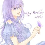1girl alternate_costume bangs bare_shoulders birthday blue-framed_eyewear blue_dress blue_eyes blush breasts bug butterfly butterfly_on_finger commentary_request dated dress eyebrows_visible_through_hair frilled_sleeves frills gintama glasses insect kotoha_(user_anzh3572) long_hair purple_hair sarutobi_ayame short_sleeves signature simple_background smile solo