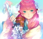 1girl blue_eyes closed_mouth fire_emblem fire_emblem_heroes flower gunnthra_(fire_emblem) hair_flower hair_ornament holding holding_sword holding_weapon ice japanese_clothes jurge katana long_hair nintendo pink_hair simple_background smile solo sword upper_body weapon
