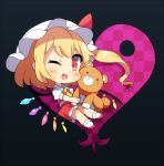 1girl 60mai ascot bangs black_background blonde_hair blush checkered chibi commentary crystal eyebrows_visible_through_hair flandre_scarlet full_body hat hat_ribbon heart holding holding_stuffed_animal long_hair looking_at_viewer mob_cap one_eye_closed one_side_up open_mouth petticoat puffy_short_sleeves puffy_sleeves red_eyes red_footwear red_ribbon red_skirt red_vest ribbon shirt shoes short_sleeves sidelocks simple_background skirt skirt_set smile socks solo stuffed_animal stuffed_toy symbol_commentary teddy_bear touhou vest white_headwear white_legwear white_shirt wings yellow_neckwear