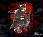 1girl alternate_costume animal_ears bangs black_cape blonde_hair blue_eyes brown_gloves bushman_idw cape cat_ears chains fingerless_gloves girls_frontline gloves gun hair_between_eyes highres holding holding_gun holding_weapon idw_(girls_frontline) long_hair looking_at_viewer official_art smile solo submachine_gun tail token torn_cape torn_clothes twintails weapon
