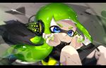 1girl action amatcha bangs black_cape black_shirt blue_eyes blunt_bangs cape commentary domino_mask green_hair green_nails headgear inkling letterboxed light_frown light_particles long_sleeves looking_at_viewer mask motion_blur motion_lines nail_polish parted_lips shirt solo sparkle splatoon splatoon_(series) splatoon_2 splatoon_2:_octo_expansion squidbeak_splatoon tentacle_hair vest yellow_vest