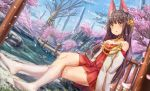 1girl :o animal_ear_fluff animal_ears architecture azur_lane bare_shoulders bare_tree black_hair blue_sky blush cherry_blossoms choker collarbone commentary_request day dress dutch_angle east_asian_architecture hair_ornament highres kneehighs legs_crossed long_hair long_sleeves looking_at_viewer nagato_(azur_lane) no_shoes off_shoulder outdoors parted_lips petals pleated_dress red_dress rock shrine sidelocks sitting sky solo thighs tree water white_legwear yellow_eyes yu_ni_t
