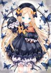 1girl abigail_williams_(fate/grand_order) absurdres animal bangs black_bow black_dress black_headwear blonde_hair bloomers blue_eyes blush bow bug butterfly chohee closed_mouth commentary_request dress fate/grand_order fate_(series) forehead hair_bow hat head_tilt highres holding insect key keyhole light_frown long_hair long_sleeves object_hug orange_bow parted_bangs polka_dot polka_dot_bow sleeves_past_fingers sleeves_past_wrists solo sparkle stuffed_animal stuffed_toy teddy_bear underwear very_long_hair white_bloomers