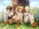 1girl 2boys absurdres ahoge black_eyes black_hair blue_eyes book boots bug butterfly emma_(yakusoku_no_neverland) eyebrows_visible_through_hair flower flower_wreath grass green_eyes hair_over_one_eye highres huge_filesize insect looking_at_viewer multiple_boys neck_tattoo norman_(yakusoku_no_neverland) open_mouth orange_hair outdoors ray_(yakusoku_no_neverland) short_hair silver_hair sitting smile tattoo thick_eyebrows tree uniform white_hair xino yakusoku_no_neverland