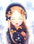 1girl :d ^_^ abigail_williams_(fate/grand_order) absurdres bangs black_bow black_dress black_headwear blonde_hair blush bow closed_eyes closed_eyes commentary_request dress facing_viewer fate/grand_order fate_(series) forehead hair_bow hands_up hat highres kiritan long_hair long_sleeves object_hug open_mouth orange_bow parted_bangs polka_dot polka_dot_bow sleeves_past_fingers sleeves_past_wrists smile solo sparkle stuffed_animal stuffed_toy teddy_bear upper_body very_long_hair