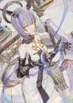 1girl azur_lane bangs bare_shoulders black_choker blue_hair blue_ribbon breasts choker closed_mouth crossed_legs dress eyebrows_visible_through_hair fleur_de_lis floating_headgear gascogne_(azur_lane) gauntlets greaves hair_between_eyes hands_up headgear highres hong legs_crossed looking_at_viewer machinery medium_breasts multicolored_hair purple_hair ribbon short_hair solo standing strapless strapless_dress streaked_hair turret watson_cross white_dress yellow_eyes