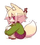 1girl animal_ear_fluff animal_ears bangs bell bell_collar blush brown_collar brown_footwear closed_mouth collar eyebrows_visible_through_hair fox_ears fox_girl fox_tail full_body green_shirt hair_between_eyes hair_bun hair_ornament jingle_bell kemomimi-chan_(naga_u) leg_hug long_sleeves looking_at_viewer looking_to_the_side naga_u original pleated_skirt purple_skirt red_eyes ribbon-trimmed_legwear ribbon_trim sailor_collar shadow shirt sidelocks skirt sleeves_past_fingers sleeves_past_wrists solo squatting tail tail_raised thigh-highs white_background white_legwear white_sailor_collar