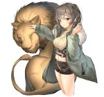 1girl animal black_shorts blush breasts brown_eyes coat cropped_legs cropped_sweater earphones_removed earrings fur-trimmed_coat fur_trim grey_hair head_tilt highres holding_earphone jewelry large_breasts lee_seok_ho lion long_hair long_sleeves looking_at_viewer midriff open_clothes open_coat original short_shorts shorts simple_background solo sweater turtleneck turtleneck_sweater white_background