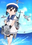 2girls aircraft aircraft_request airplane black_hair blue_sailor_collar blue_sky brown_eyes clouds day dress fairy_(kantai_collection) full_body harukaze_unipo hat hiburi_(kantai_collection) kantai_collection low_ponytail multiple_girls outdoors ponytail sailor_collar sailor_dress sailor_hat shoes short_hair short_sleeves sky socks solo_focus uwabaki white_dress white_headwear white_legwear