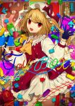1girl :d absurdres ascot bangs black_gloves blonde_hair bow center_frills commentary_request cover cowboy_shot crystal daimaou_ruaeru eyebrows_visible_through_hair fang flandre_scarlet frilled_shirt_collar frills gloves hand_up hat hat_bow highres holding holding_pen lego light_particles long_hair long_sleeves looking_at_viewer mob_cap nail_polish one_side_up open_mouth pen petticoat puffy_sleeves puzzle_piece red_bow red_eyes red_nails red_skirt shirt single_glove skirt skirt_set smile solo standing stuffed_animal stuffed_toy teddy_bear thighs touhou toy_train white_headwear white_shirt wings yellow_neckwear