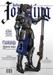 1girl allianz_arena armor black_hair bmw breastplate chainmail commentary concept_art cover elbow_pads english_commentary english_text fantasy faulds full_armor gauntlets greaves hair_through_headwear helmet highres inline_skates johnson_ting lips lufthansa magazine_cover medieval motocross nose original plate_armor ponytail realistic roller_skates single_spaulder skates solo sponsor urban_fantasy