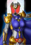 1girl armor belt breastplate breasts cape commentary full_armor gauntlets gloves glowing glowing_eyes gold_armor helmet highres kamen_rider kamen_rider_dcd kamen_rider_kivala medium_breasts purple_cape red_eyes shoulder_armor tokusatsu yuuyatails