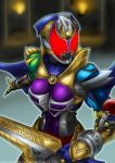 1girl armor belt breastplate breasts cape commentary gauntlets gloves glowing glowing_eyes helmet highres kamen_rider kamen_rider_dcd kamen_rider_kivala medium_breasts purple_cape red_eyes shoulder_armor solo solo_focus tagme what_if yuuyatails