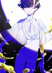 1other androgynous artist_name bangs blue_eyes blue_hair blunt_bangs glowing glowing_eye gold golden_arms heterochromia houseki_no_kuni minim_(nnininn) necktie phosphophyllite phosphophyllite_(ll) see-through_sleeves short_hair solo spoilers white_eyes