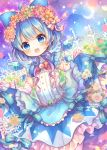 1girl :d ahoge bangs blue_bow blue_dress blue_eyes blue_hair blue_ribbon blue_sky blush bow brown_flower cirno clouds commentary_request crescent_moon dress dutch_angle elbow_gloves eyebrows_visible_through_hair fence flower frilled_dress frills gloves gradient gradient_ribbon green_flower hair_between_eyes hair_bow hair_flower hair_ornament ice ice_wings moon open_mouth outdoors petals pjrmhm_coa purple_flower purple_ribbon purple_sky red_bow red_flower ribbon rose skirt_hold sky sleeveless sleeveless_dress smile solo touhou white_flower white_gloves white_rose wings