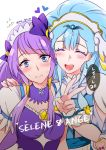 2girls ^_^ blue_eyes blue_hair blush character_name closed_eyes closed_eyes closed_mouth cure_ange cure_selene eyebrows_visible_through_hair hand_on_another's_shoulder heart hugtto!_precure kaguya_madoka looking_at_viewer magical_girl multiple_girls negom precure puffy_short_sleeves puffy_sleeves purple_hair short_sleeves simple_background star_twinkle_precure twitter_username upper_body v white_background wrist_cuffs yakushiji_saaya