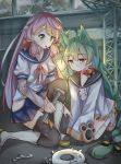 2girls absurdres ahoge akashi_(azur_lane) akashi_(kantai_collection) animal_ears azur_lane bell bell_choker blue_skirt bow cat_ears choker commentary_request crossover dress enemy_lifebuoy_(kantai_collection) green_eyes green_hair hair_between_eyes hair_ribbon highres jingle_bell kantai_collection long_hair long_sleeves low-tied_long_hair mouth_hold multiple_girls namesake pink_hair pleated_skirt red_bow ribbon ribbon_choker sailor_dress scarlet_dango school_uniform screwdriver serafuku skirt sleeves_past_fingers sleeves_past_wrists thigh-highs tress_ribbon white_dress wrench yellow_eyes