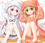 2girls :d animal_ears animal_hat animal_slippers bangs blush braid brown_dress brown_eyes brown_footwear brown_headwear bunny_hat bunny_slippers carrot checkered checkered_floor chestnut_mouth collared_dress dress eyebrows_visible_through_hair fake_animal_ears food green_eyes hair_between_eyes hat knees_up light_brown_hair long_hair multiple_girls open_mouth original pillow purple_hair rabbit_ears side_braid single_braid sitting slippers smile star very_long_hair white_dress white_footwear white_headwear yuuhagi_(amaretto-no-natsu)