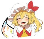 1girl ascot blonde_hair bow closed_eyes crystal flandre_scarlet frilled_shirt_collar frills hair_between_eyes hat hat_bow highres kuronohana mob_cap open_mouth red_bow red_vest shirt simple_background single_wing solo teeth touhou vest white_background white_headwear white_shirt wings