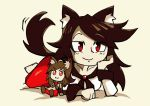1girl animal_ears barefoot brooch brown_hair collarbone doll double_dealing_character dress head_on_hand imaizumi_kagerou jewelry long_hair long_sleeves looking_at_viewer lying monster_girl on_stomach red_eyes setz smile solo tail tail_wagging touhou werewolf wide_sleeves wolf_ears wolf_tail