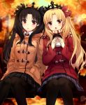 2girls :o autumn autumn_leaves bangs black_eyes black_hair black_ribbon black_skirt blonde_hair blue_skirt blush brown_coat brown_scarf coat commentary cup day disposable_cup duffel_coat ereshkigal_(fate/grand_order) fate/grand_order fate_(series) feet_out_of_frame hair_ribbon hands_in_pockets holding holding_cup ishtar_(fate/grand_order) long_hair long_sleeves looking_at_viewer miniskirt multiple_girls on_bench open_mouth outdoors parted_bangs parted_lips plaid plaid_scarf plaid_skirt pleated_skirt red_coat red_eyes red_ribbon ribbon scarf sitting skirt symbol_commentary tareme tiara very_long_hair yimu