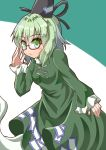 1girl :< aqua_hair arm_at_side arm_up bespectacled blush breasts commentary_request dress eyebrows_visible_through_hair floating frown ghost_tail glasses green_background green_dress green_eyes hair_between_eyes hand_on_eyewear hat highres long_sleeves looking_at_viewer medium_hair ofuda red-framed_eyewear semi-rimless_eyewear shiny shiny_hair sidelocks simple_background sleeves_past_wrists small_breasts soga_no_tojiko solo sugiyama_ichirou tate_eboshi touhou two-tone_background under-rim_eyewear white_background
