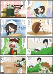 4koma anchovy basket black_hair brown_hair carrot comic drill_hair eating girls_und_panzer glasses green_hair hat highres instrument jinguu_(4839ms) kantele kindergarten_uniform logo mika_(girls_und_panzer) mikko_(girls_und_panzer) necktie opaque_glasses orange_eyes short_twintails stick tricycle tsuji_renta twin_drills twintails younger