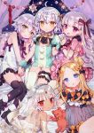 5girls :d abigail_williams_(fate/grand_order) absurdres ahoge altera_(fate) bangs bare_shoulders bed black_bow black_legwear blonde_hair blue_eyes bow canopy_bed commentary_request dark_skin doll_joints eyebrows_visible_through_hair eyes_visible_through_hair fate/grand_order fate_(series) frilled_pillow frills garters green_eyes hair_between_eyes hair_bow hair_bun hair_ribbon hand_holding headpiece high_heels highres interlocked_fingers jack_the_ripper_(fate/apocrypha) jeanne_d'arc_(fate)_(all) jeanne_d'arc_alter_santa_lily leg_garter long_hair lying multiple_girls nekoremon nursery_rhyme_(fate/extra) on_bed open_mouth orange_bow pillow pom_pom_(clothes) puffy_short_sleeves puffy_sleeves red_eyes ribbon see-through short_hair short_sleeves side_bun silver_hair sitting smile stuffed_animal stuffed_toy teddy_bear thigh-highs violet_eyes white_legwear