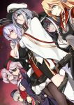6+girls admiral_hipper_(azur_lane) azur_lane bangs bare_shoulders black_hair black_headwear black_jacket blonde_hair blue_dress blue_eyes breasts brown_eyes brown_gloves brown_jacket brown_legwear cape cleavage commentary_request cross cross_earrings deutschland_(azur_lane) dress dutch_angle earrings eyebrows_visible_through_hair eyepatch fur-trimmed_legwear fur_trim garrison_cap glasses gloves gneisenau_(azur_lane) graf_zeppelin_(azur_lane) green_eyes grey_shirt grin hair_between_eyes hat highres iron_cross jacket jewelry large_breasts long_sleeves looking_at_viewer marshall2033 military_hat multicolored_hair multiple_girls off_shoulder pantyhose parted_lips peaked_cap pleated_skirt purple_dress purple_hair purple_jacket red-framed_eyewear redhead scharnhorst_(azur_lane) semi-rimless_eyewear shirt silver_hair skirt sleeveless sleeveless_dress smile streaked_hair tirpitz_(azur_lane) two-tone_hair under-rim_eyewear white_cape white_hair white_headwear white_legwear white_shirt white_skirt z46_(azur_lane)