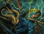 battle christianwillett claws clouds cloudy_sky dragon dragon_horns dragon_wings duel electricity fangs fighting glowing glowing_eyes godzilla godzilla:_king_of_the_monsters godzilla_(2014) godzilla_(series) highres horns kaijuu king_ghidorah king_ghidorah_(godzilla:_king_of_the_monsters) lighting monster multiple_heads no_humans open_mouth rain red_eyes scales sharp_teeth sky tail teeth wings