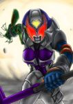 1girl armor belt breasts commentary explosion glowing glowing_eyes gun hammer helmet highres holding holding_gun holding_hammer holding_weapon kamen_rider kamen_rider_dcd kamen_rider_kivala looking_at_viewer medium_breasts red_eyes solo solo_focus weapon yuuyatails
