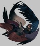 1boy armor black_legwear boots brown_hair fingerless_gloves gloves granblue_fantasy hood hood_down male_focus multicolored multicolored_wings multiple_wings red_eyes sandalphon_(granblue_fantasy) seraph short_hair sinhatugamai solo wings
