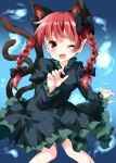1girl ;d animal_ear_fluff animal_ears bangs black_bow blue_background blush bow braid cat_ears cat_tail claw_pose commentary_request dress eyebrows_visible_through_hair fang feet_out_of_frame gradient gradient_background green_dress hair_bow hand_up highres juliet_sleeves kaenbyou_rin long_sleeves looking_at_viewer multiple_tails nekomata one_eye_closed open_mouth pointy_ears puffy_sleeves red_eyes redhead ruu_(tksymkw) smile solo tail touhou twin_braids twintails two_tails
