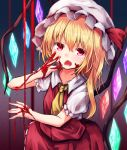 1girl ascot bangs baram blonde_hair blood blood_on_face bloody_hands blue_background commentary_request cowboy_shot crystal eyebrows_visible_through_hair fangs flandre_scarlet gradient gradient_background hair_between_eyes hand_up hat hat_ribbon highres long_hair mob_cap one_side_up open_mouth puffy_short_sleeves puffy_sleeves purple_background red_eyes red_ribbon red_skirt red_vest ribbon shirt short_sleeves skirt skirt_set solo touhou vest white_headwear white_shirt wings yellow_neckwear