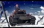 1girl absurdres artist_name brown_eyes brown_hair caterpillar_tracks girls_und_panzer ground_vehicle highres letterboxed military military_vehicle motor_vehicle nishizumi_miho ooarai_military_uniform painterly panzerkampfwagen_iv pine_tree snow solo tank tegar32 tree