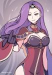 1girl armpits asymmetrical_hair black_gloves breasts circlet cleavage cloak cowboy_shot dress earrings fire_emblem fire_emblem_echoes:_mou_hitori_no_eiyuuou floating_hair gloves grey_background high_collar jewelry large_breasts lips long_hair nintendo parted_lips phiphi-au-thon purple_hair red_eyes side_slit smile solo sonia_(fire_emblem_gaiden) sparkle straight_hair thighs twitter_username