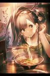 1girl bangs blouse blush brown_eyes brown_hair chopsticks eating flower food garuku green_blouse hair_flower hair_ornament hair_stick hair_tucking head_tilt holding holding_chopsticks letterboxed noodles oshiro_project_re ramen sidelocks sitting solo table twitter_username upper_body violet_eyes yanaginogosho_(oshiro_project)